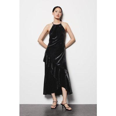 Halter Neck Velvet Dress Black, Black