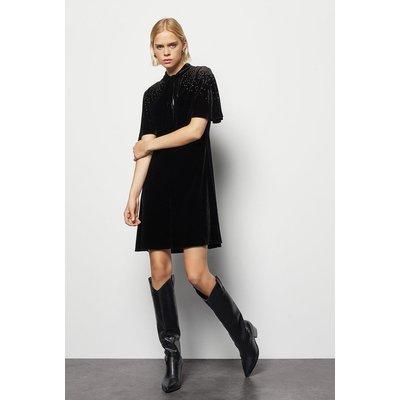 Velvet Embellished Dress Black, Black