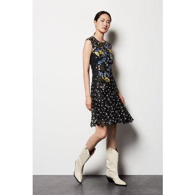 Floral Polkadot Lace Dress Black, Black