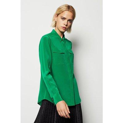 Karen Millen Safari Silk Shirt, Green