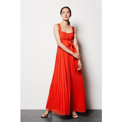 Corset Pleated Dress Red, Red
