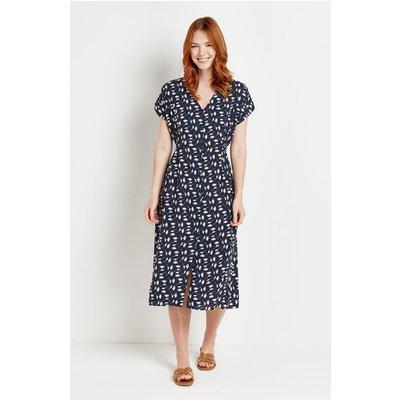 Navy Daisy Button Through Midi Dress