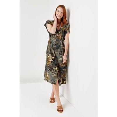 Khaki Jungle Button Through Midi Dress