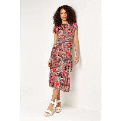 Red Pop Paisley Tiered Jersey Midi Dress