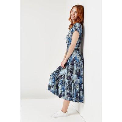 Blue Snake Print Tiered Jersey Midi Dress
