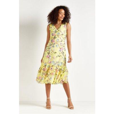 Lemon Floral Tiered Dress