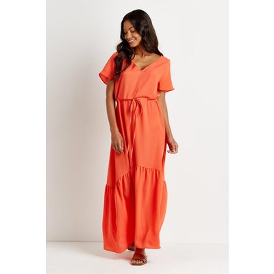 Red Relaxed Tiered Maxi Dress