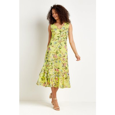 Tall Lemon Floral Tiered Dress