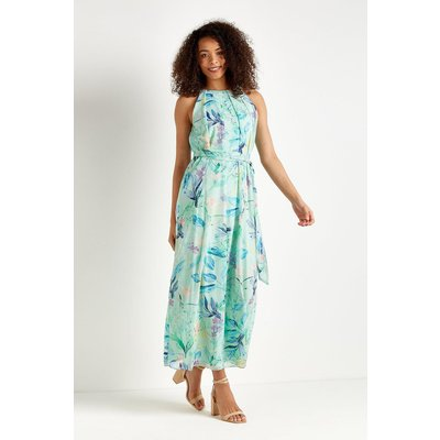 Mint Floral Metallic-Fleck Maxi Dress