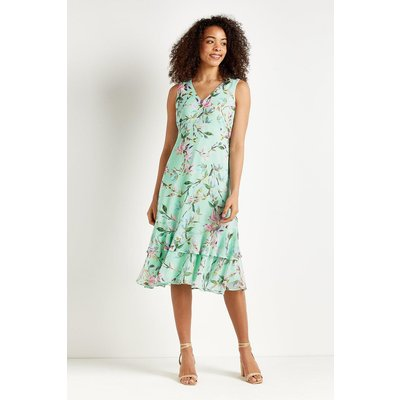 Petite Mint Floral Tiered Dress
