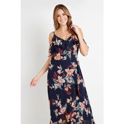 Tropical Floral Cold Shoulder Dress