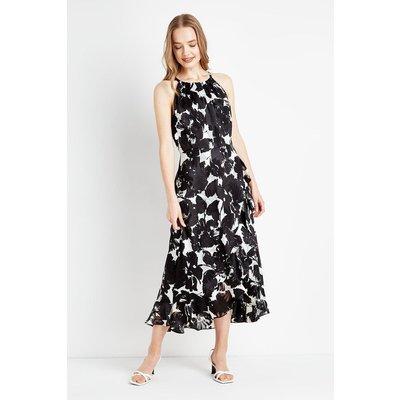 Monochrome Floral Frill Dress