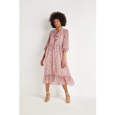 Pink Trailing Floral Frill Tiered Midi Dress