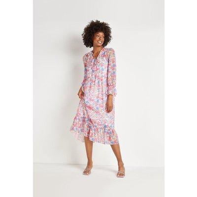 Watercolour Floral Frill Tiered Midi Dress