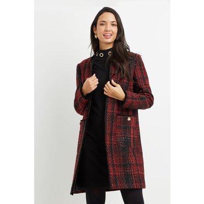 Red Check Collarless Long Jacket