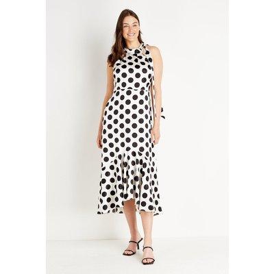 Mono Spot Halter Neck Tie Dress