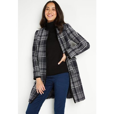 Ink Check Collarless Coat Jacket
