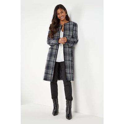 Tall Check Collarless Long Jacket