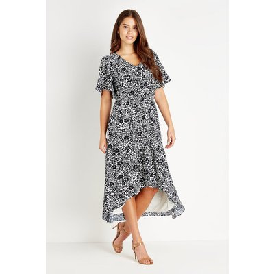 Ditsy Cold Shoulder Ruffle Tiered Dress