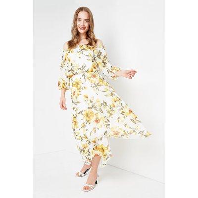 Sunflower Off Shoulder Tiered Midi Dress