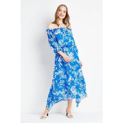 Blue Floral Off Shoulder Tiered Midi Dress
