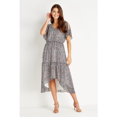 Animal Cold Shoulder Ruffle Tiered Dress