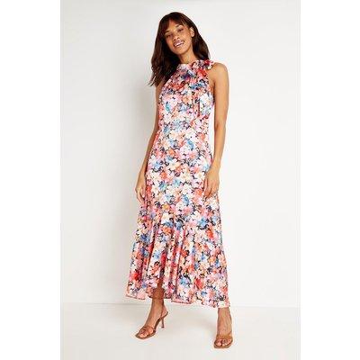 Floral Halter Tie Neck Dress
