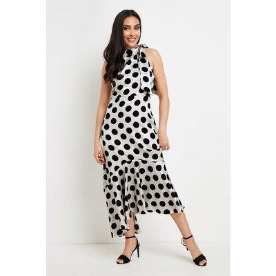 Petite Mono Spot Halter Neck Dress