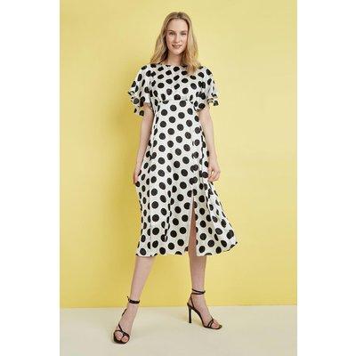 Mono Spot Angel Sleeve Midi Dress