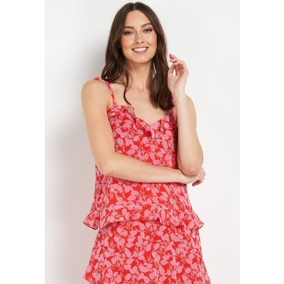 Ditsy Floral Red Pink Chiffon Cami Top