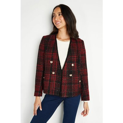 Red Check Short Double Breasted Jacket