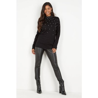Tall Black Crystal Embellished Scatter Tunic