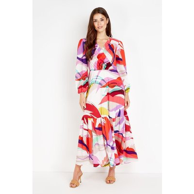 Red Abstract Tiered Maxi Dress