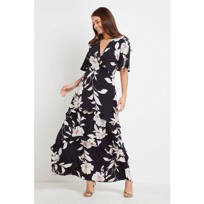 Black Pink Floral Tiered Maxi  Dress