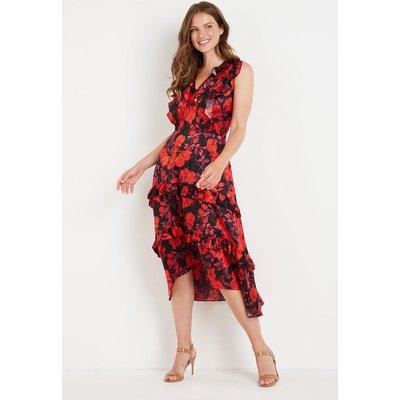 Black Floral Jacquard Ruffle Dress