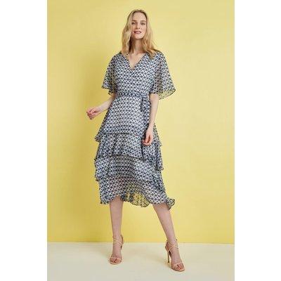 Petite Ivory Tiered Angel Sleeve Maxi Dress