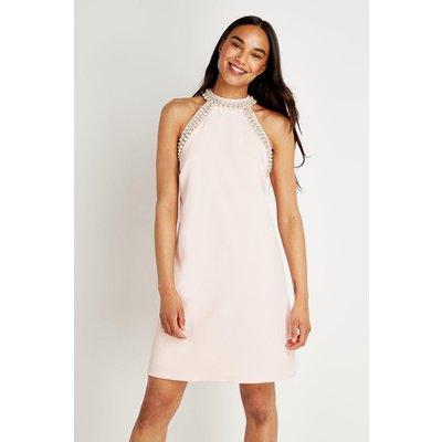 Jewel Halter Neck Shift Dress