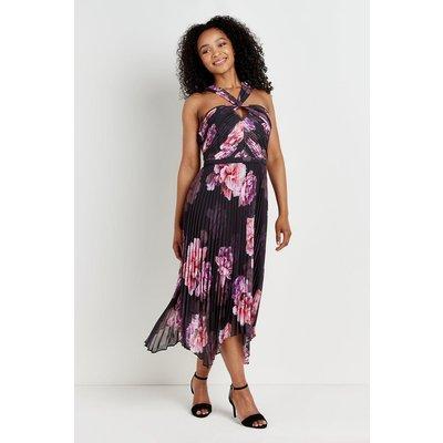 Black & Pink Floral Pleated Halter Neck Dress
