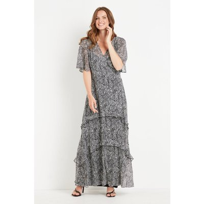 Ivory Paisley Glitter Angel Sleeve Dress