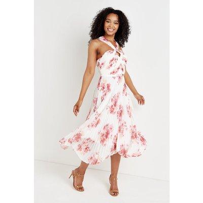 Ivory & Pink Floral Pleated Halterneck Dress