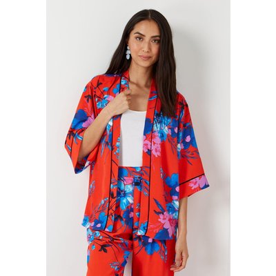 Red and Blue Floral Kimono Jacket