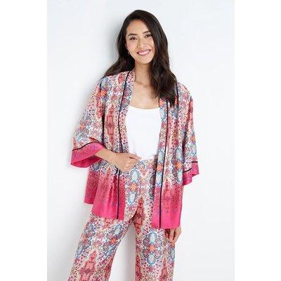 Pink Paisley Border Kimono Jacket