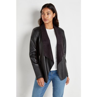 Quilt Detail Faux Leather Waterfall Jacket