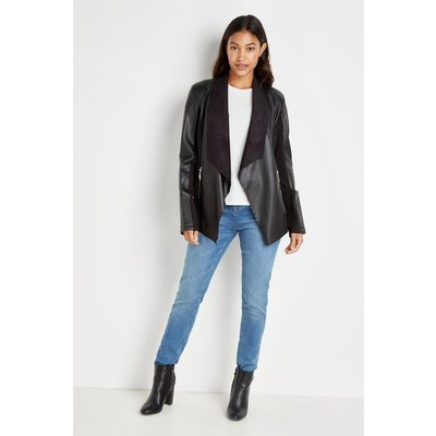 Tall Quilt Detail Faux Leather Waterfall Jacket