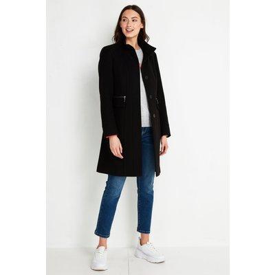 Tall Black Faux Wool Funnel Neck Coat
