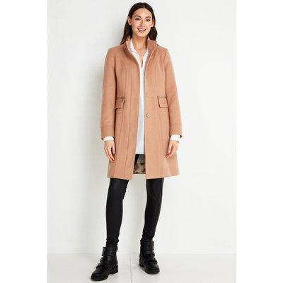 Tall Camel Faux Wool Funnel Neck Coat