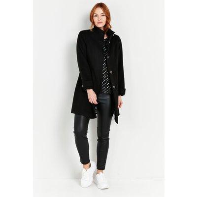 Petite Black Faux Wool Funnel Neck Coat