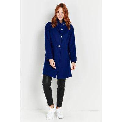 Petite Blue Faux Wool Funnel Neck Coat