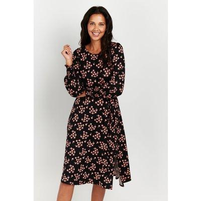 Petite Black Floral Puff Sleeve Midi Dress
