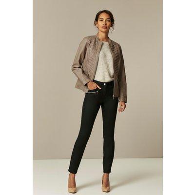 Petite Stone Faux Leather Jacket